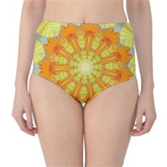Sunshine Sunny Sun Abstract Yellow High Waist Bikini Bottoms