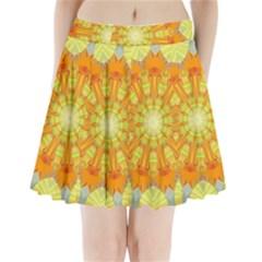 Sunshine Sunny Sun Abstract Yellow Pleated Mini Skirt