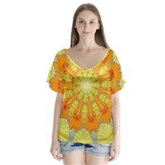 Sunshine Sunny Sun Abstract Yellow Flutter Sleeve Top