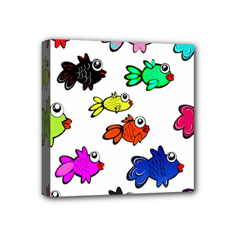 Fishes Marine Life Swimming Water Mini Canvas 4  x 4