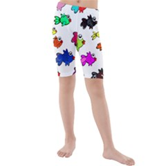 Fishes Marine Life Swimming Water Kids  Mid Length Swim Shorts