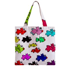 Fishes Marine Life Swimming Water Zipper Grocery Tote Bag