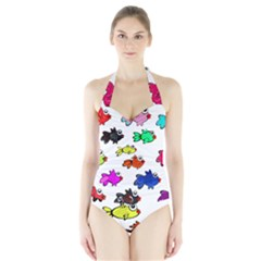 Fishes Marine Life Swimming Water Halter Swimsuit