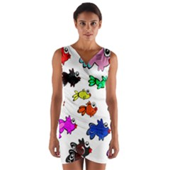 Fishes Marine Life Swimming Water Wrap Front Bodycon Dress