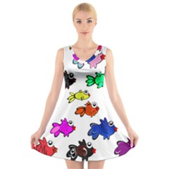 Fishes Marine Life Swimming Water V Neck Sleeveless Skater Dress