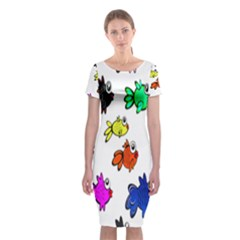 Fishes Marine Life Swimming Water Classic Short Sleeve Midi Dress