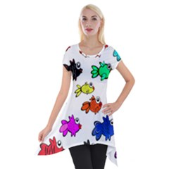 Fishes Marine Life Swimming Water Short Sleeve Side Drop Tunic