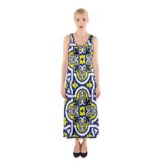 Tiles Panel Decorative Decoration Sleeveless Maxi Dress