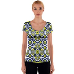 Tiles Panel Decorative Decoration Women s V-Neck Cap Sleeve Top