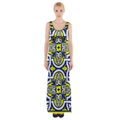 Tiles Panel Decorative Decoration Maxi Thigh Split Dress