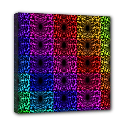 Rainbow Grid Form Abstract Mini Canvas 8  x 8