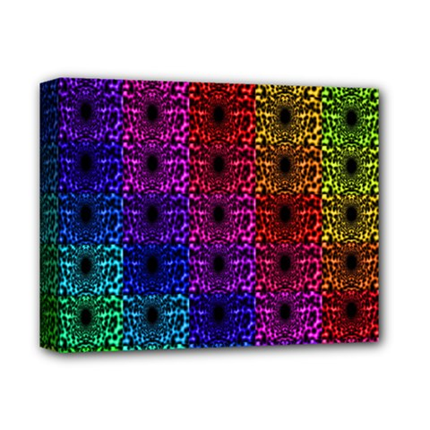 Rainbow Grid Form Abstract Deluxe Canvas 14  X 11
