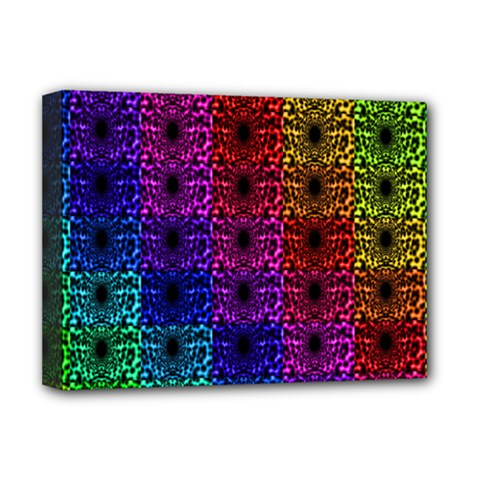 Rainbow Grid Form Abstract Deluxe Canvas 16  x 12