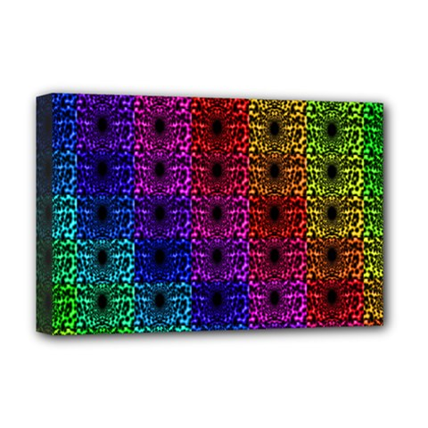 Rainbow Grid Form Abstract Deluxe Canvas 18  x 12