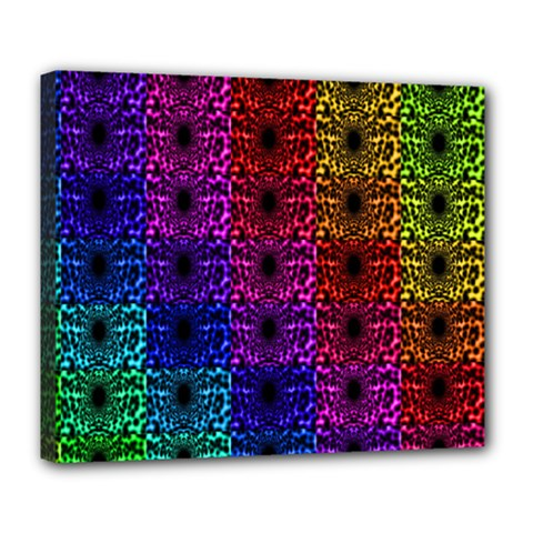 Rainbow Grid Form Abstract Deluxe Canvas 24  x 20