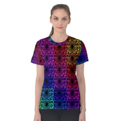 Rainbow Grid Form Abstract Women s Cotton Tee