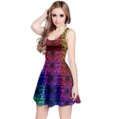 Rainbow Grid Form Abstract Reversible Sleeveless Dress