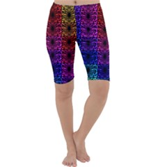 Rainbow Grid Form Abstract Cropped Leggings