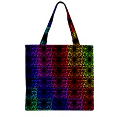 Rainbow Grid Form Abstract Zipper Grocery Tote Bag