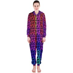Rainbow Grid Form Abstract Hooded Jumpsuit (ladies)