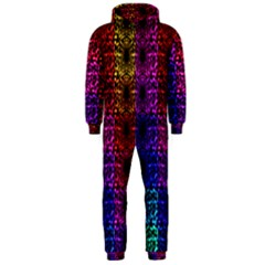 Rainbow Grid Form Abstract Hooded Jumpsuit (men)
