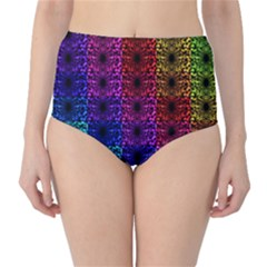 Rainbow Grid Form Abstract High Waist Bikini Bottoms