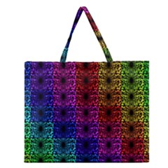 Rainbow Grid Form Abstract Zipper Large Tote Bag