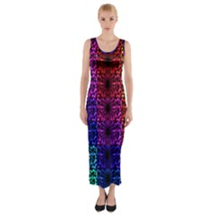 Rainbow Grid Form Abstract Fitted Maxi Dress