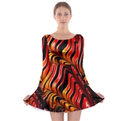 Fractal Mathematics Abstract Long Sleeve Skater Dress