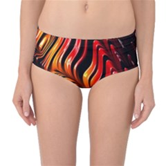 Fractal Mathematics Abstract Mid-Waist Bikini Bottoms