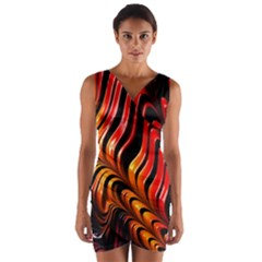 Fractal Mathematics Abstract Wrap Front Bodycon Dress