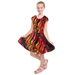 Fractal Mathematics Abstract Kids  Short Sleeve Dress