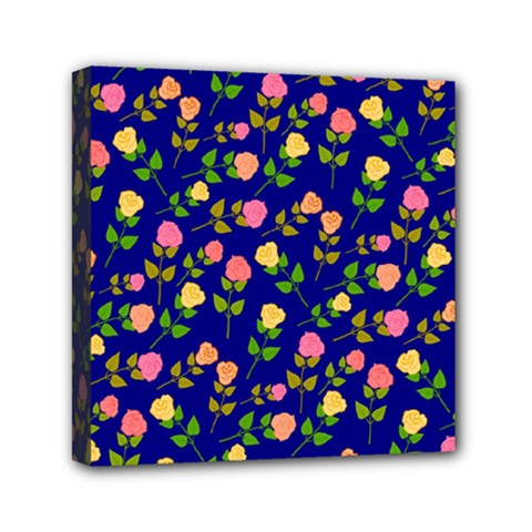 Flowers Roses Floral Flowery Blue Background Mini Canvas 6  X 6