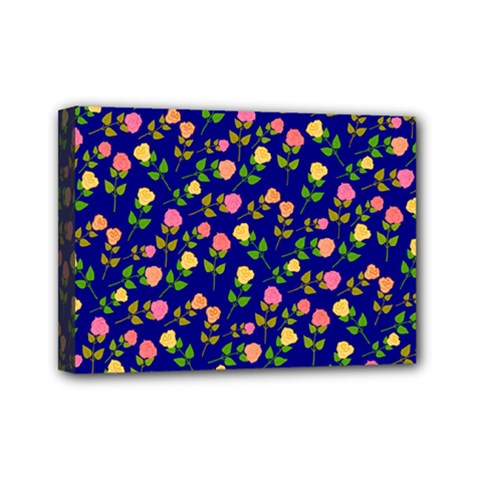 Flowers Roses Floral Flowery Blue Background Mini Canvas 7  X 5