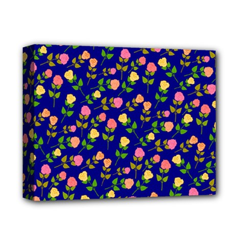 Flowers Roses Floral Flowery Blue Background Deluxe Canvas 14  x 11
