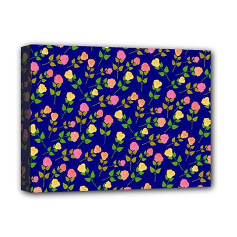 Flowers Roses Floral Flowery Blue Background Deluxe Canvas 16  x 12