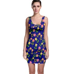 Flowers Roses Floral Flowery Blue Background Sleeveless Bodycon Dress