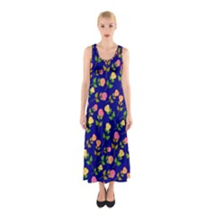 Flowers Roses Floral Flowery Blue Background Sleeveless Maxi Dress