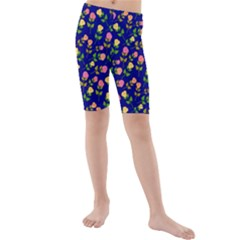 Flowers Roses Floral Flowery Blue Background Kids  Mid Length Swim Shorts