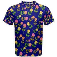 Flowers Roses Floral Flowery Blue Background Men s Cotton Tee