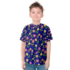 Flowers Roses Floral Flowery Blue Background Kids  Cotton Tee