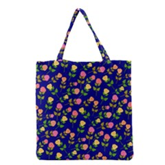 Flowers Roses Floral Flowery Blue Background Grocery Tote Bag
