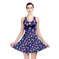 Flowers Roses Floral Flowery Blue Background Reversible Skater Dress