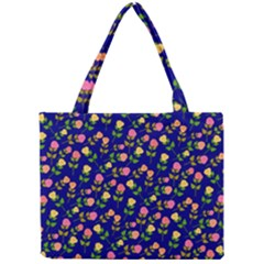 Flowers Roses Floral Flowery Blue Background Mini Tote Bag