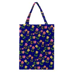 Flowers Roses Floral Flowery Blue Background Classic Tote Bag