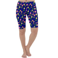 Flowers Roses Floral Flowery Blue Background Cropped Leggings