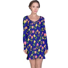 Flowers Roses Floral Flowery Blue Background Long Sleeve Nightdress
