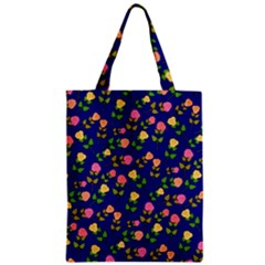 Flowers Roses Floral Flowery Blue Background Zipper Classic Tote Bag