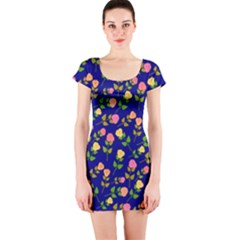 Flowers Roses Floral Flowery Blue Background Short Sleeve Bodycon Dress