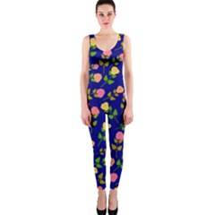 Flowers Roses Floral Flowery Blue Background OnePiece Catsuit
